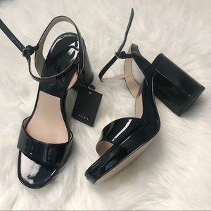 [ZARA ] Black Patent Finish Platform Sandals 7.5